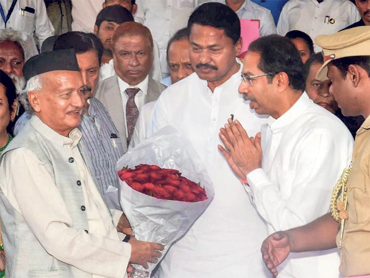 राज्यपाल भगतसिंह कोश्यारी यांचे मुख्यमंत्री उद्धव ठाकरेंनी विधानसभेत स्वागत केले. - Divya Marathi