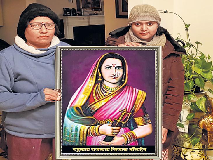 जिजाऊ ब्रिगेडच्या प्रदेशाध्यक्षा (डावीकडे) मीनाक्षी इंगोले आपल्या मुलीसह. - Divya Marathi