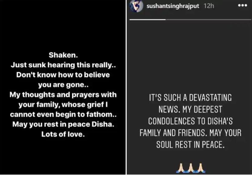 नुसरत भरुचा आणि सुशांत सिंह राजपूतची इंस्टाग्राम स्टोरी