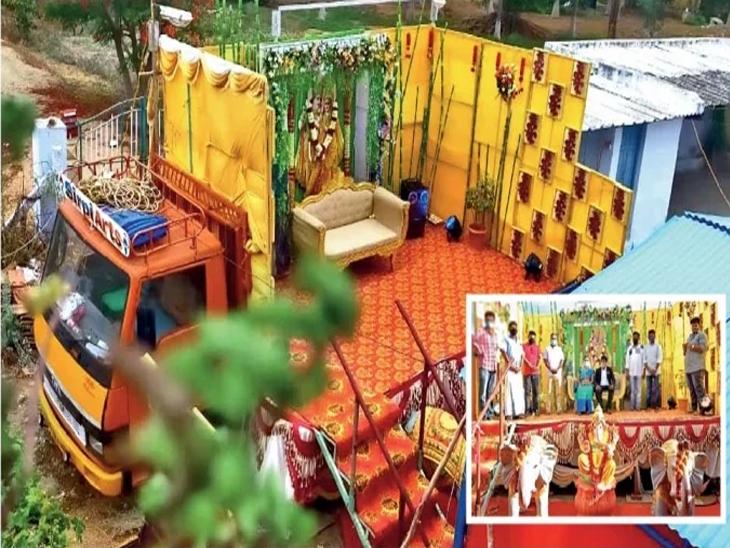 हा लग्नाचा ट्रक कुठेही बोलावला जाऊ शकतो. हकीमच्या या चमूत सहा लोक काम करत आहेत. - Divya Marathi