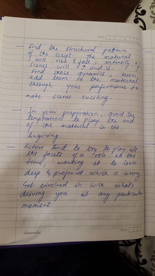 10. कॅमे-यासमोर अभिनय करण्याची तयारी नोट्स 2 - या पानावर त्याने आपल्या अभिनयाच्या नियोजनाविषयी लिहिले आहे.