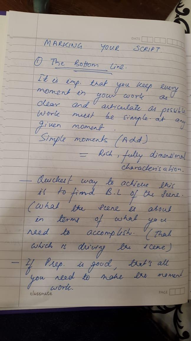 13. आपल्या स्क्रिप्टच्या तयारीविषयी सुशांतचे नोट्स 2 - या पानावर सुशांतने अभिनय स्किल सुधारण्यासाठी कुठली तयारी करायला हवी त्याबद्दल लिहिले आहे.