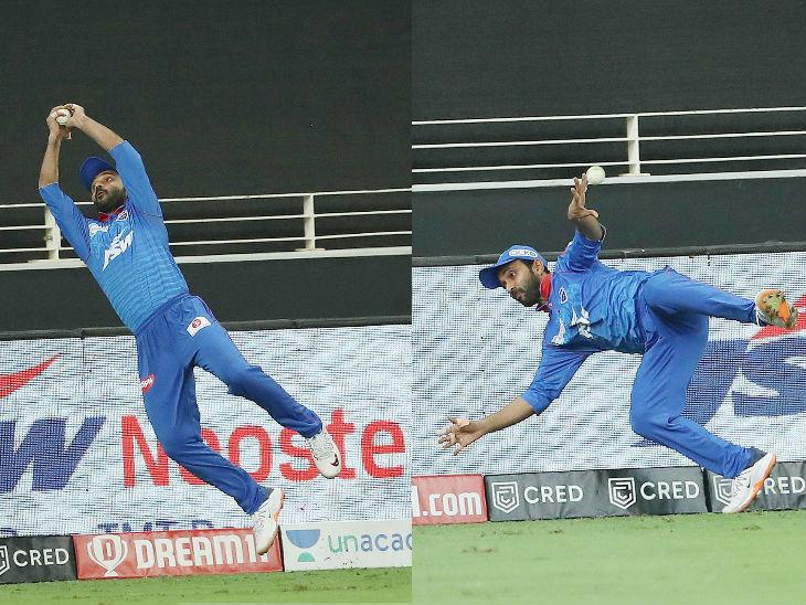 सामन्याच्या शेवटच्या षटकातील पहिल्या चेंडूवर अजिंक्य रहाणेने शानदारपणे षटकार रोखला. राहुल तेवतियाने हा फटका मारला होता. यावेळी राजस्थानला विजयासाठी 6 चेंडूत 22 धावांची आवश्यकता होती.