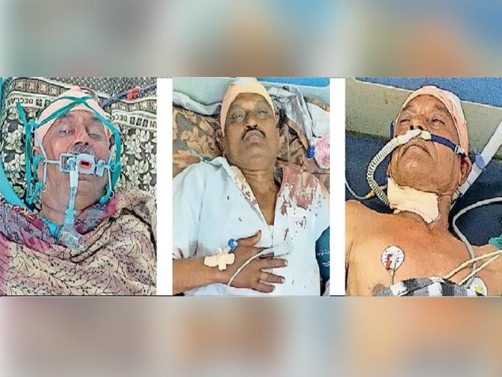 वडगाव लांबे येथे निवडणुकीच्या वादातून झालेल्या हाणामारीत जखमी झालेले तिघे - Divya Marathi