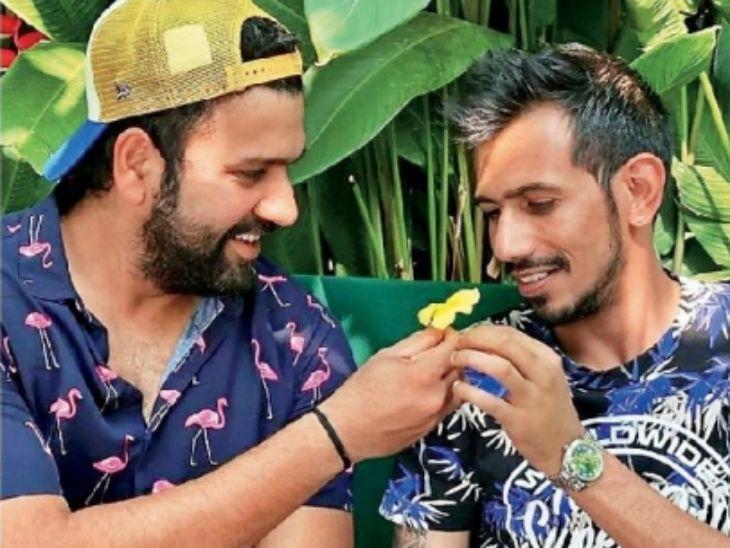 टीम इंडियाचा सलामीवीर राेहित शर्मा अाणि गाेलंदाज चहल सातत्याने साेशल मीडियावर फाेटाे पाेस्ट करून चर्चेत असतात.असाच फाेटाे त्यांनी शेअर केला हाेता. - Divya Marathi