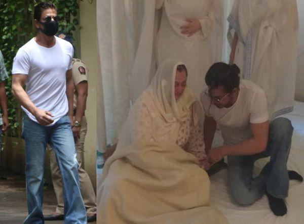 सायरा बानो यांना आधार देताना शाहरुख खान.
