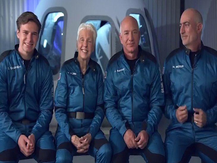 अमेझॉनचे संस्थापक बेझोस यांची पहिली अंतराळ यात्रा यशस्वी, 3 प्रवाशांसोबत 11 मिनिटांमध्ये पूर्ण केला 105 किमी.चा प्रवास|विदेश,International - Divya Marathi
