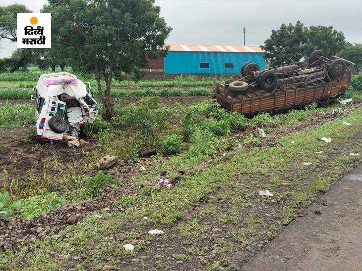 टायर पंक्चर झाल्याने बाजूला थांबवली मिनी बस; आयशरने धडक देताच 200 फूटांपर्यंत फेकल्या गेली; 4 जागीच ठार, तिघे गंभीर जखमी|उस्मानाबाद जिल्हा,Osmanabad - Divya Marathi