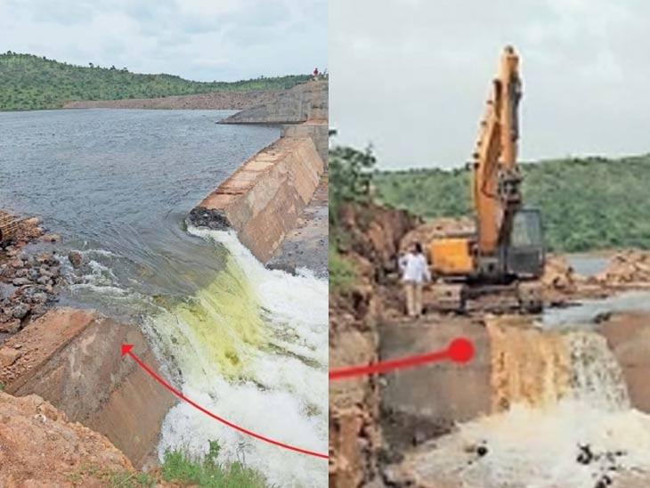 ग्रामस्थांच्या विरोधानंतरही प्रशासनाने सांडवा फोडला; 20% पाणी सोडले; पाचशे फूट रस्त्याच्या निकृष्ट कामाच्या बचावासाठी निर्णय अमरावती,Amravati - Divya Marathi