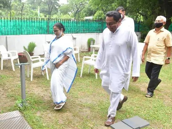 ममता बॅनर्जी यांनी मध्य प्रदेशचे माजी मुख्यमंत्री कमलनाथ यांची भेट घेतली.