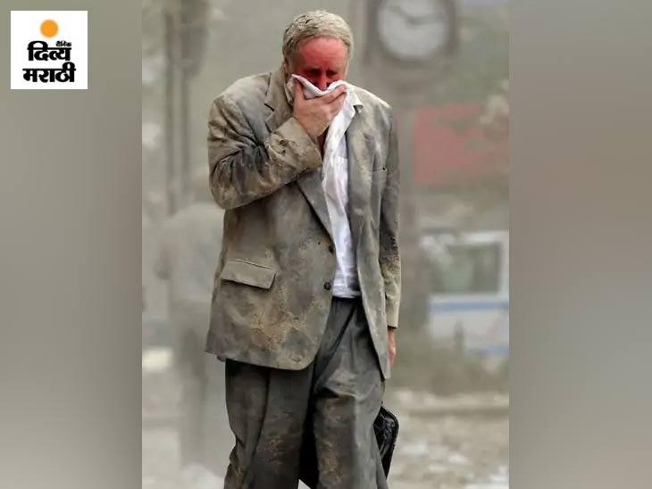 एडवर्ड फाइन नावाचा हा माणूस WTC चा पहिला टॉवर कोसळल्यानंतर काँक्रिटच्या धूळातून बाहेर आला. माती आणि धूळाने पूर्णपणे मळलेला एडवर्डने आपले नाक आणि तोंड रुमालाने झाकले. नॉर्थ टॉवर कोसळण्यापूर्वीच तो बाहेर आला.
