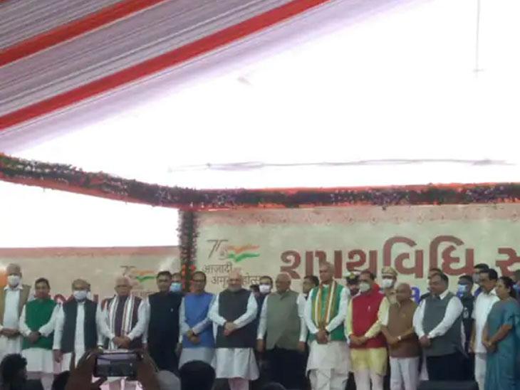 गृहमंत्री अमित शहा यांच्यासह उत्तर प्रदेश, मध्य प्रदेश, कर्नाटक, गोवा आणि आसामच्या मुख्यमंत्र्यांनीही शपथविधीला हजेरी लावली