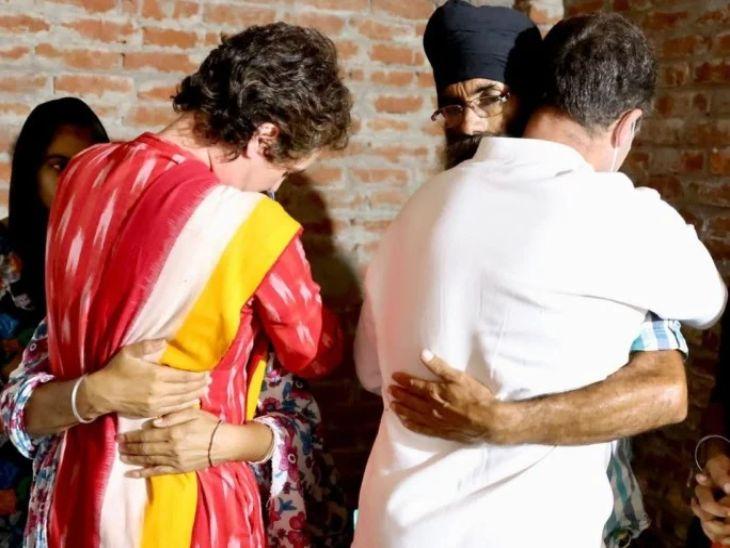 राहुल गांधी आणि प्रियंका गांधी यांनी लखीमपूर खिरी येथे मृत शेतकऱ्यांच्या कुटुंबीयांची भेट घेऊन सांत्वन केले. - Divya Marathi