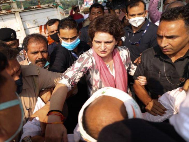 आग्र्यामध्ये पोलिस कस्टडीत मृत स्वच्छता कर्मचाऱ्याच्या कुटुंबियांची भेट घेण्यासाठी जात होत्या प्रियंका गांधी, लखनऊ पोलिसांनी घेतलेताब्यात|देश,National - Divya Marathi