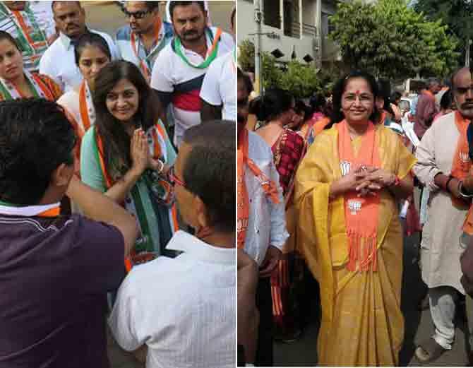 વિજયભાઇની જીતાડવા પત્ની અંજલીબેન ઘરે ઘરે માગ્યા વોટ તો ઇન્દ્રનીલના પત્ની પણ ઘરે ઘરે માગી રહ્યા છે વોટ - Divya Bhaskar