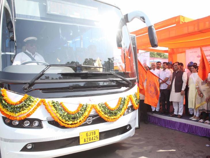 CMએ કેસરી ઝંડી લહેરાવી ગાંધીનગર બસ સ્ટેન્ડથી શરૂ કરી 50 વોલ્વો અને લગ્નની ખાસ બસ સેવા|ગાંધીનગર,Gandhinagar - Divya Bhaskar
