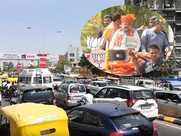 લોકો ટ્રાફિકજામમાં ફસાઈ, પોલીસ અધિકારીઓ તમાશો જોતા રહ્યા| - Divya Bhaskar