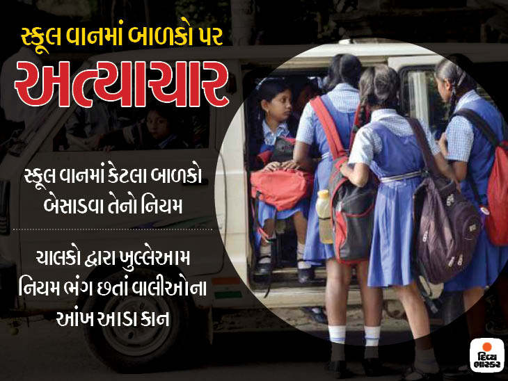 ઘેટાં-બકરાંની માફક વાનોમાં માસૂમ બાળકોને ભરાય છે, RTOનો ડ્રાઇવના નામે તમાસો  - Divya Bhaskar