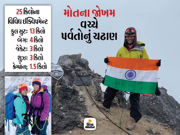 સુરતની બે સાહસિક બહેનો 7 ઉપખંડોના 7 ઉંચા પર્વતો સર કરવાના મિશન પર, ઇન્ડોનેશિયાના પર્વત પર તિરંગો લહેરાવ્યો સુરત,Surat - Divya Bhaskar