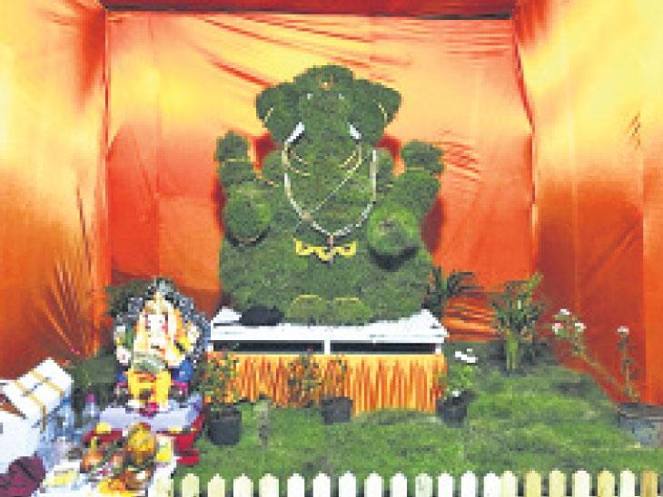 દુર્વાથી બનેલા ગણેશજીને બાગમાં કાયમ માટે સ્થાપિત કરાશે| - Divya Bhaskar