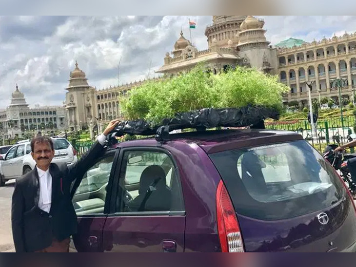 બેંગ્લોરના વકીલે તેમની નેનો કારના રૂફટોપ પર  મીની ગાર્ડન બનાવ્યું|ઈન્ડિયા,National - Divya Bhaskar