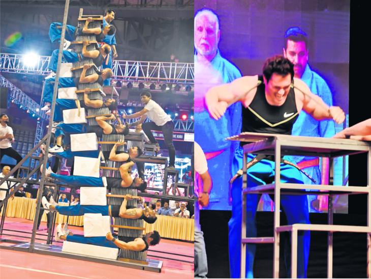 વિસ્પી ખરાદીએ પોતાનો રેકોર્ડ તોડી બે નવા ગિનીઝ રેકોર્ડ બનાવ્યા, ખીલાની સેન્ડવીચ વચ્ચે 47 સેકન્ડ સૂઈ 1500 કિલો વજન ઊંચક્યો સુરત,Surat - Divya Bhaskar