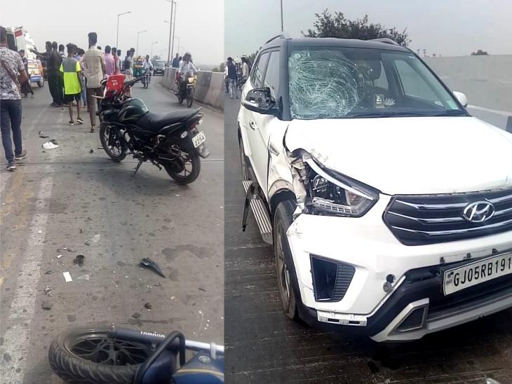કારની ડ્રાઈવરની સાઈડથી બાઈક ચાલક અડફેટે ચડ્યો હતો - Divya Bhaskar