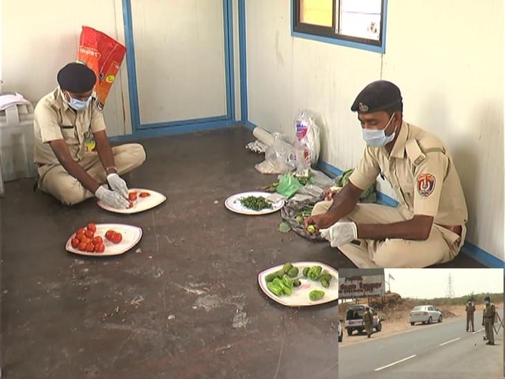 રાજકોટથી 30 કિમી દૂર 25 પોલીસ જવાનો જમવાનું જાતે બનાવે છે, નીડરતાથી કોરોનાને શહેરમા આવતો રોકે છે રાજકોટ,Rajkot - Divya Bhaskar