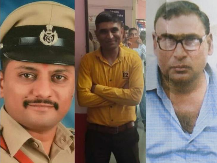 આરોપી PI ગોહિલ, PSI રબારી અને મૃતક બાબુ શેખની ફાઇલ તસવીર - Divya Bhaskar