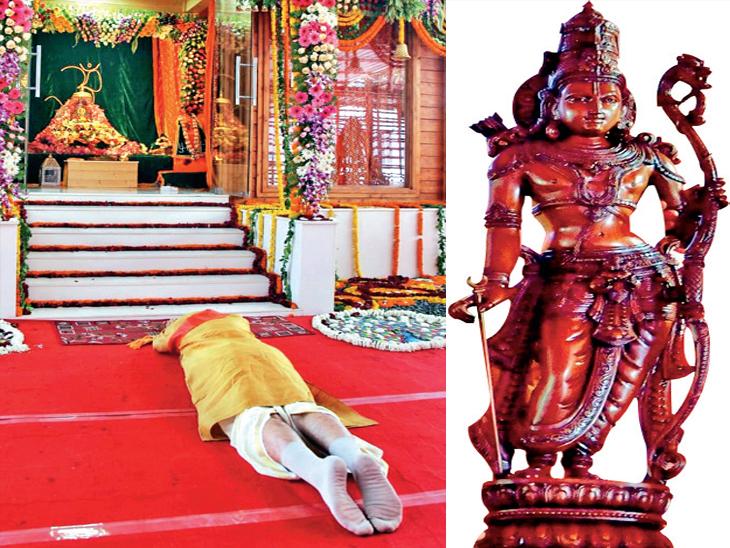 ભૂમિ પૂજન પહેલા મોદીએ રામલલ્લાના અસ્થાયી મંદિરમાં સાષ્ટાંગ પ્રણામ કર્યા. બીજી તસવીર 'કોદંડ રામ'ની પ્રતિમાની જે યોગી આદિત્યનાથે PM મોદીને ભેટ આપી હતી. - Divya Bhaskar