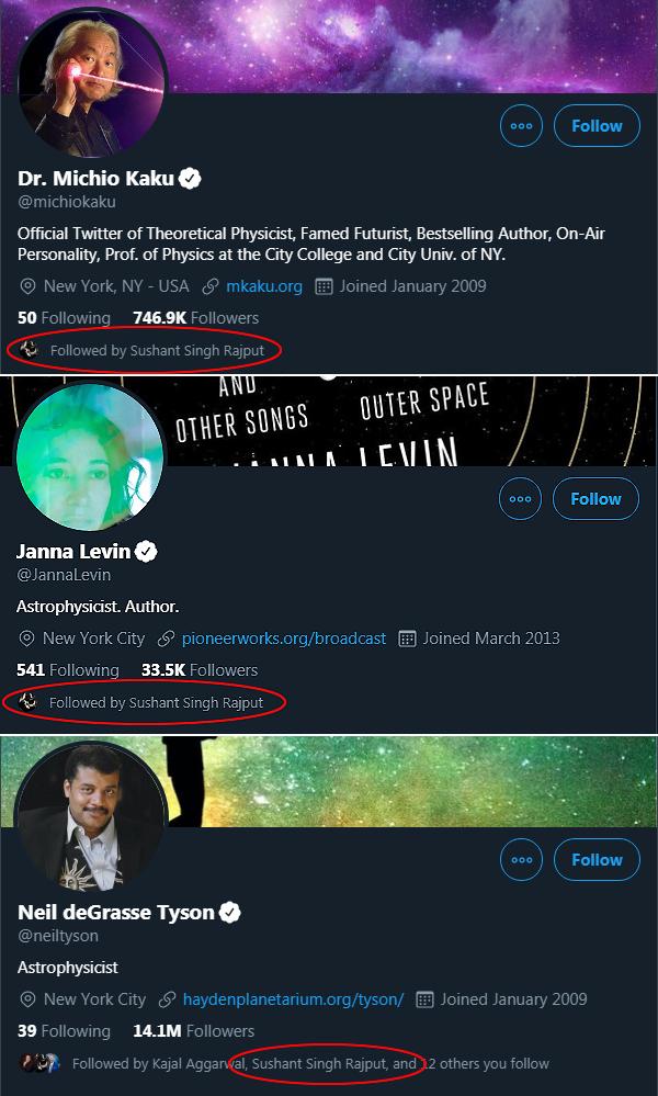 સમીરે જે ત્રણ ખગોળશાસ્ત્રીઓને પોતાના છેલ્લા ટ્વીટમાં ટેગ કર્યા હતા, તે ત્રણેયને સુશાંત પણ ફોલો કરતો હતો