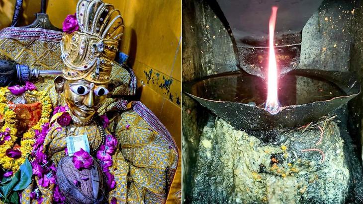 मंदिर में दो अखंड ज्योत सालों से जल रही हैं।
