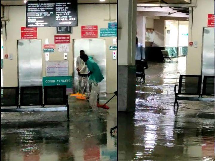 ભોપાલમાં શુક્રવારે સવારે શનિવારે બપોર સુધી 2 ઈંચથી વધુ વરસાદ પડી ચુકી છે. રાજધાની ચિરાયુ કોવિડ હોસ્પિટલમાં પાણી ભરાયા