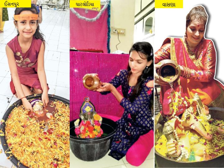 અમદાવાદનાં ઘરોમાં સ્થાપિત ગણેશજીની એવી મૂર્તિઓ જે વિસર્જન બાદ તુલસી, શાકભાજી ઉગાડશે અમદાવાદ,Ahmedabad - Divya Bhaskar