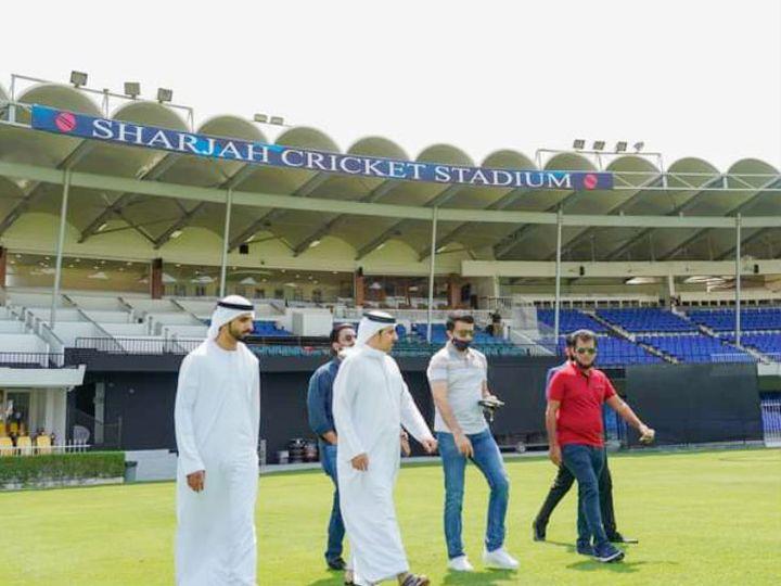 UAEમાં શારજાહ ક્રિકેટ સ્ટેડિયમ મેનેજમેન્ટ સાથે BCCI અધ્યક્ષ સૌરવ ગાંગુલી. - Divya Bhaskar