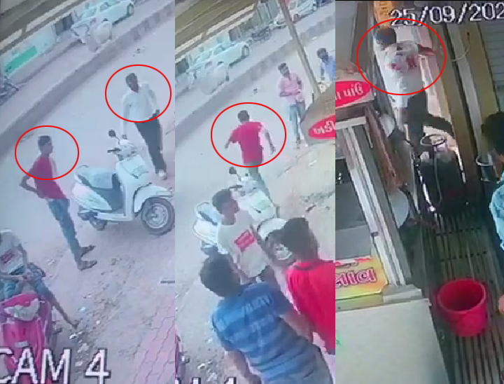 તસવીરમાં ડાબેથી લાલ ટીશર્ટમાં (સર્કલમાં) હત્યારો અને સફેદ શર્ટમાં (સર્કલમાં) આવતા વકીલ. લાલ ટીશર્ટમાં (સર્કલમાં) હત્યારો હુમલો કરી ફરાર અને સફેદ શર્ટમાં (સર્કલમાં) લોહીલુહાણ વકીલ CCTV ફૂટેજમાં નજરે પડે છે. - Divya Bhaskar