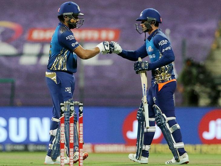 ડિકોકે મુંબઈના કેપ્ટન રોહિત શર્માની સાથે ટીમને સારી શરૂઆત અપાવી અને પહેલી વિકેટ માટે 94 રનની પાર્ટનરશિપ કરી.