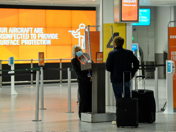Staff interrogating a foreigner at London International Airport in the British capital - file photo.