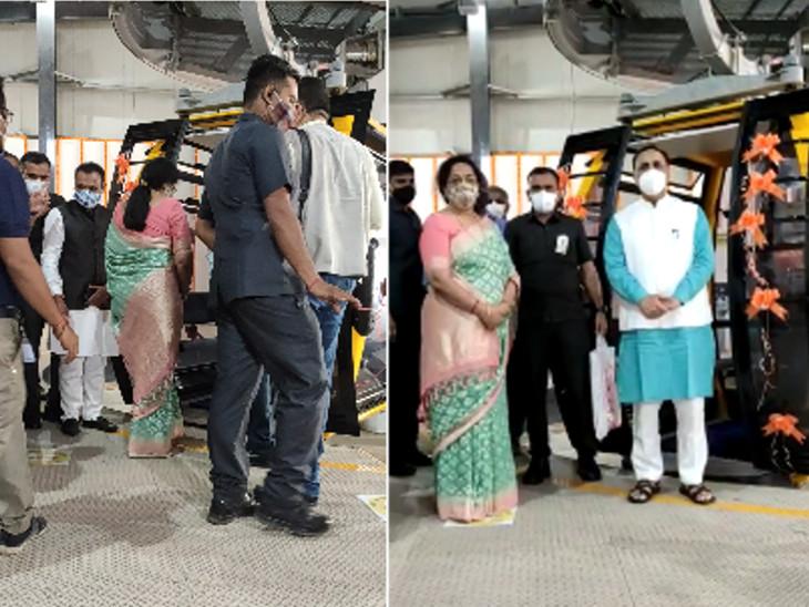 CM રૂપાણી અને તેમનાં પત્ની અંજલિ રૂપાણી રોપવેમાં બેઠાં.