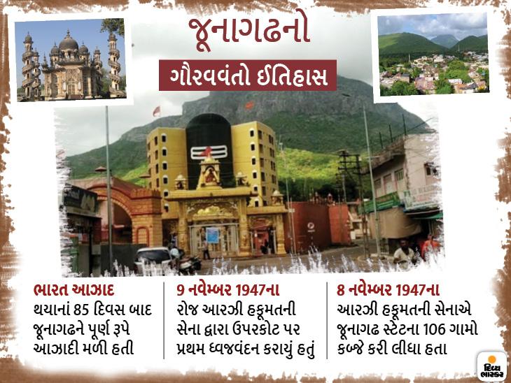 દેશને આઝાદી મળ્યાના 85 દિવસ બાદ જૂનાગઢ આઝાદ થયું હતું, જૂનાગઢના પ્રથમ લોકશાહી મતદાનમાં ભારતને 1,91,688 અને પાકિસ્તાનને માત્ર 91 મત મળ્યા હતા જુનાગઢ,Junagadh - Divya Bhaskar