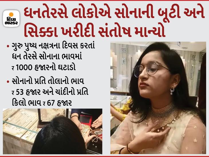 વડોદરામાં 21 કરોડના સોના-ચાંદીના વેચાણનો અંદાજ, રાજકોટ, અમદાવાદ, સુરતમાં ખરીદીમાં 50 ટકા જેટલો ઘટાડો, લોકોએ શુકન સાચવવા થોડી-ઘણી ખરીદી કરી|અમદાવાદ,Ahmedabad - Divya Bhaskar
