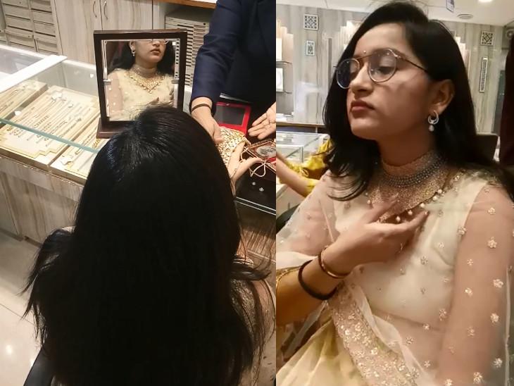 સુરતમાં ધનતેરસે ખરીદી માટે જ્વેલરી બજારમાં ગ્રાહકોનો ઘસારો, સોના-ચાંદીની ખરીદી પર ગ્રાહકોએ 50 ટકા કાપ મુક્યો|સુરત,Surat - Divya Bhaskar