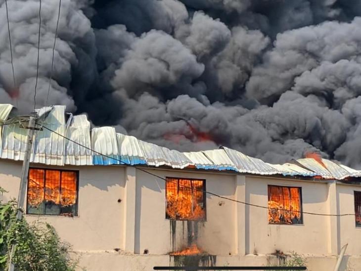 પ્લાસ્ટિકના દાણા બનાવતી કંપનીમાં આગ ફાટી નીકળતા ધૂમાડા ઊંચે સુધી ઉઠ્યાં હતાં. - Divya Bhaskar
