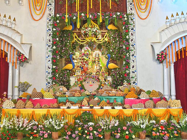 ગોવર્ધન પૂજા અને અન્નકૂટ મહોત્સવની હરેકૃષ્ણ મંદિર, ભાડજ ખાતે ઉજવણી કરવામાં આવી અમદાવાદ,Ahmedabad - Divya Bhaskar