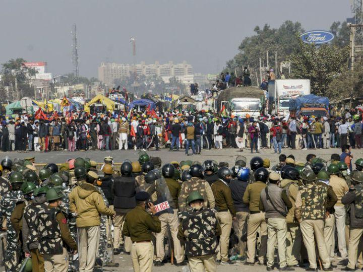 દિલ્હીની સિંધુ બોર્ડર પર ખેડૂતો અને પોલીસ એકબીજાની સામે આવી ગયા - Divya Bhaskar