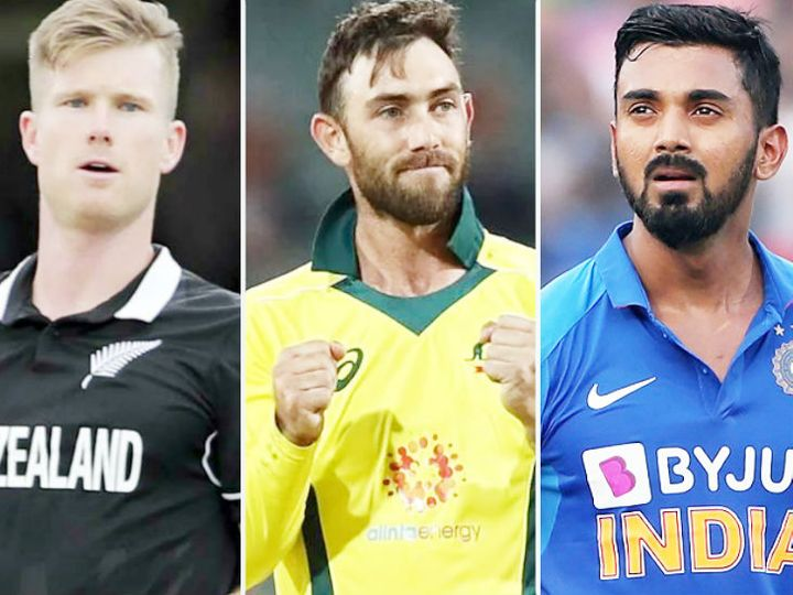 IPLમાં કિંગ્સ ઇલેવન પંજાબ વતી રમતા નીશમ(ડાબે) અને મેક્સવેલે(વચ્ચે) બહુ ખરાબ પ્રદર્શન કર્યું હતું. - Divya Bhaskar