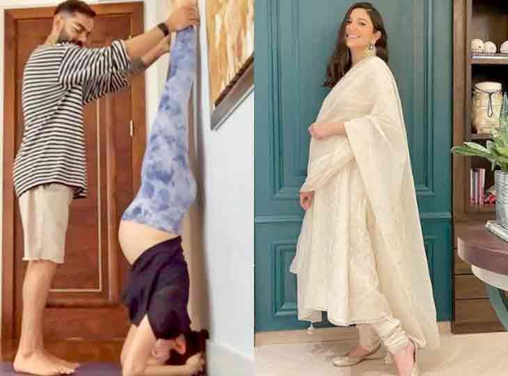 પ્રેગ્નન્સીમાં અનુષ્કા શર્માએ પતિ વિરાટ કોહલીની મદદથી શીર્ષાસન કર્યું, બોલી- આ સૌથી અઘરું આસન બોલિવૂડ,Bollywood - Divya Bhaskar