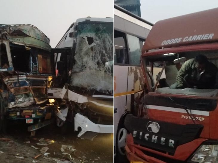 નારોલ પીરાણા રોડ પર બે ટ્રક-લકઝરી બસ વચ્ચે ટ્રિપલ અકસ્માત, બે વ્યક્તિ ઈજાગ્રસ્ત, પોલીસ ઘટનાસ્થળે અમદાવાદ,Ahmedabad - Divya Bhaskar