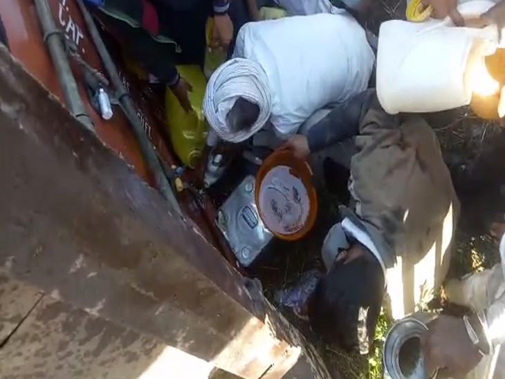 લોકો તેલ લેવા માટે દોડાદોડી કરતા જોવા મળ્યા હતા.