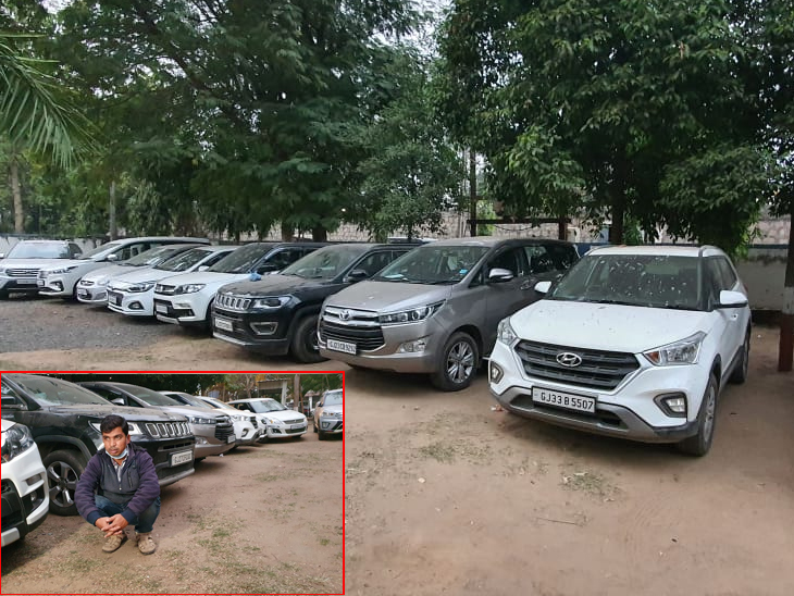 ભંગારના વાડામાં સ્ક્રેપમાં આવતી કાર જેવી જ કારની ચોરી કરી તેમા એન્જીન અને ચેસીસ નંબરોમાં છેડછાડ કરી વેચી દેનાર 13 લક્ઝુરીયસ કાર સાથે ઝડપાયો નડિયાદ,Nadiad - Divya Bhaskar